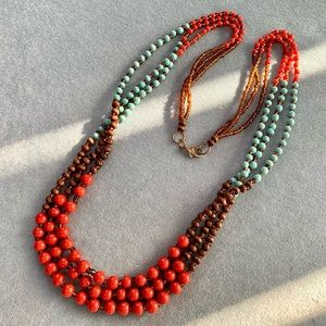 ⭐️2 for $10 Vintage Ceramic Wood and Glass Multi Strand Long Beaded Necklace